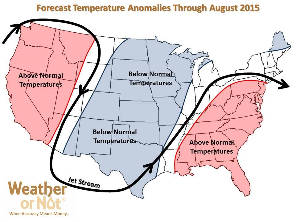 Summer 2015 Patterns - Temperatures